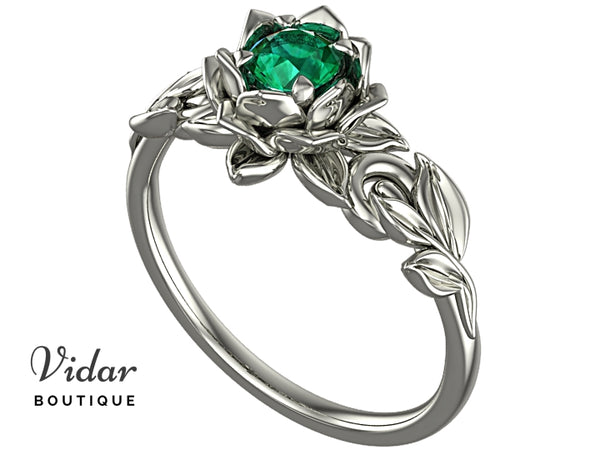 Lotus Flower Emerald Engagement Ring