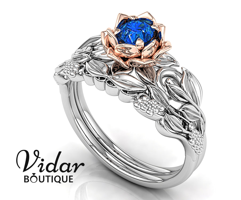 Blue Sapphire Unique Flower Engagement Ring Leaves Grapes Nature Wedding Band White Gold Rose Gold