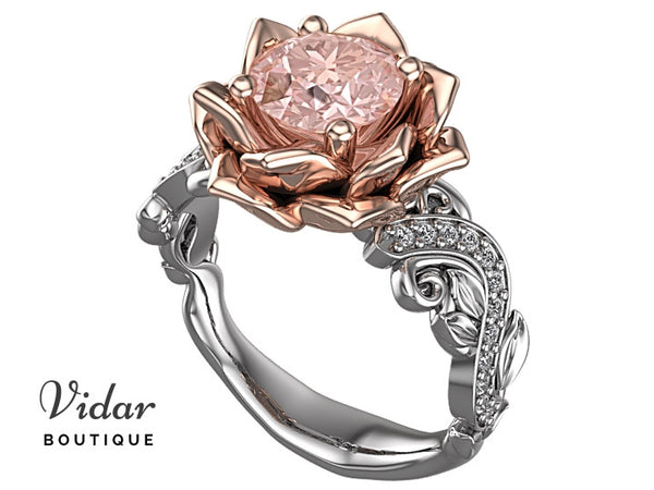 Lotus Flower Morganite Engagement Ring