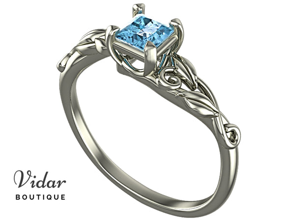 Unique Aquamarine Princess Cut Engagement Ring