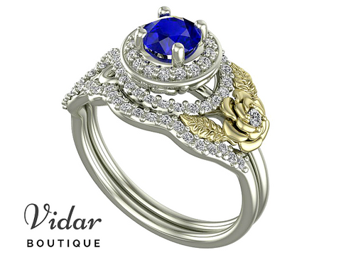 Flower Two Tone Gold Halo Sapphire Wedding Ring Set
