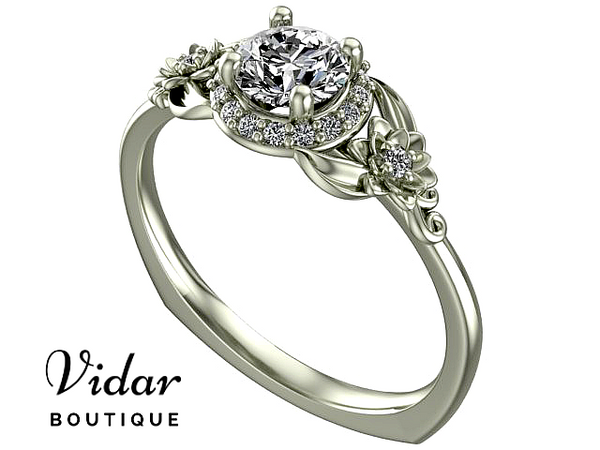 Floral White Gold Diamond Halo Engagement Ring