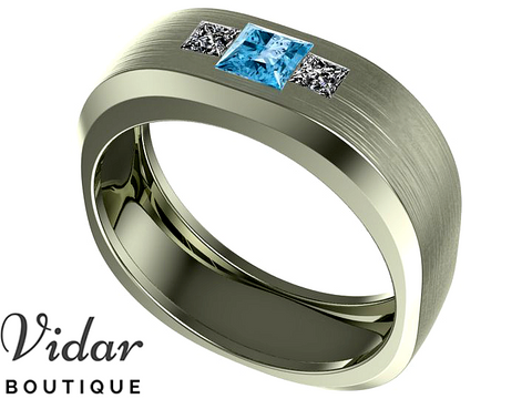 Unique Mens Aquamarine Wedding Band