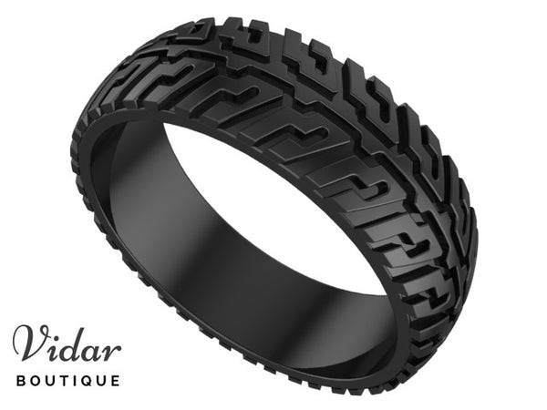 Unique Black Gold Tire Wedding Band For Men