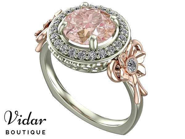 Two Tone Gold Morganite Engagement Ring
