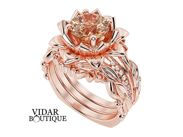 Unique Flower Morganite Wedding Ring Set