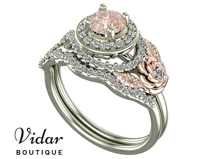 Unique Flower Two Tone Gold Halo Morganite Wedding Ring Set Vidar