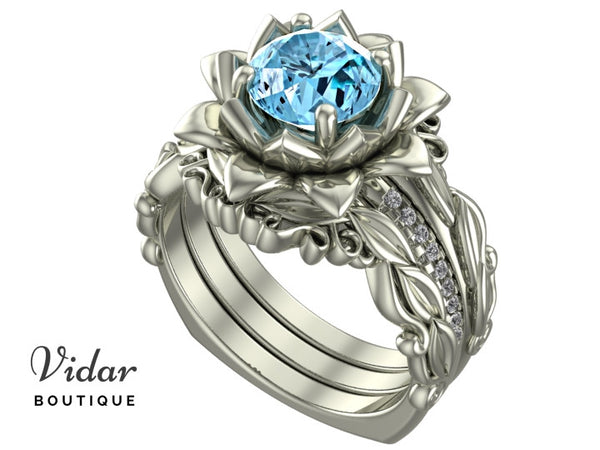 Unique Flower Aquamarine Wedding Ring Set