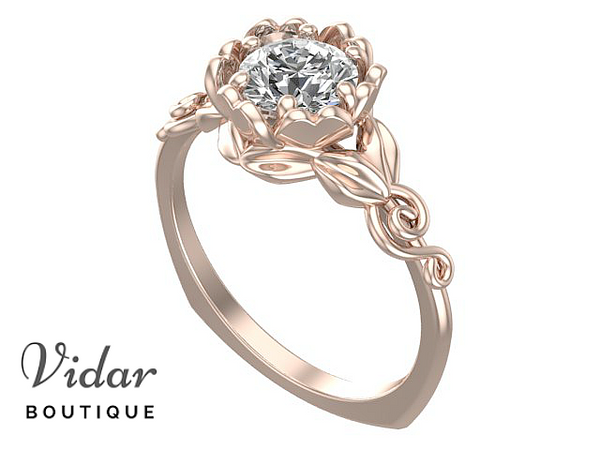 Unique Flower Shaped Solitaire Rose Gold Engagement Ring
