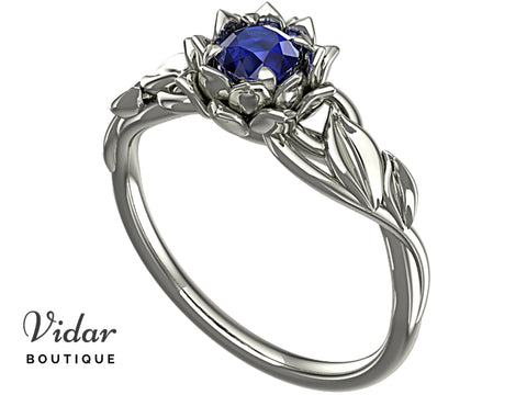 Lotus Flower Blue Sapphire Engagement Ring