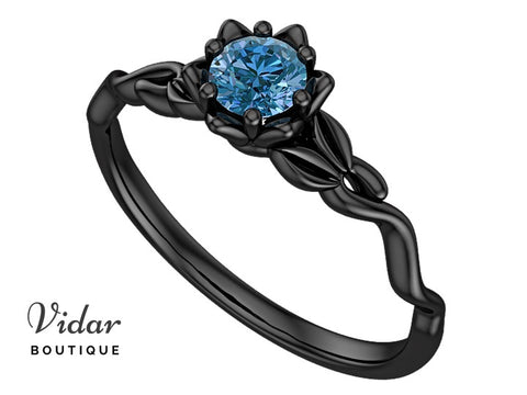 Blue Diamond Black Gold Flower Engagement Ring