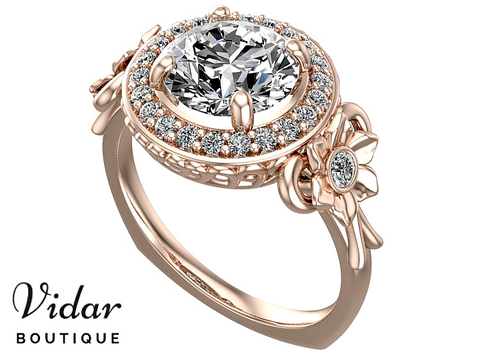 Unique Halo Rose Gold Moissanite Engagement  Ring
