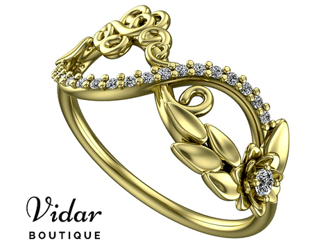 Lotus Flower Infinity Diamond Wedding Band For Women