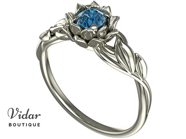 Unique Blue Diamond Lotus Flower Engagement Ring