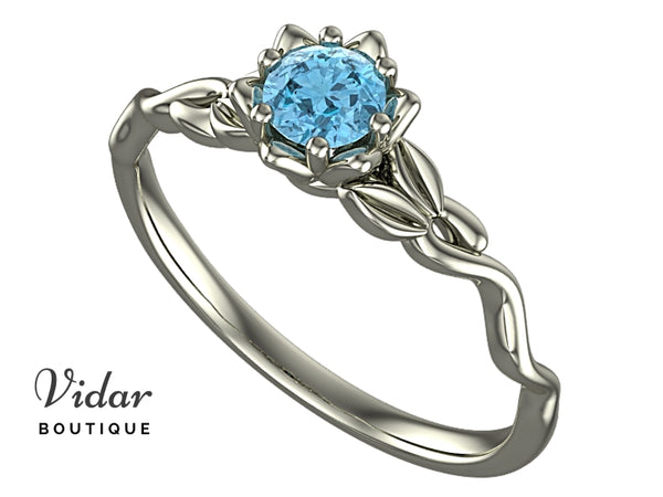 Unique Floral Aquamarine Ring White Gold