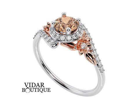 Floral Halo Morganite Engagement Ring