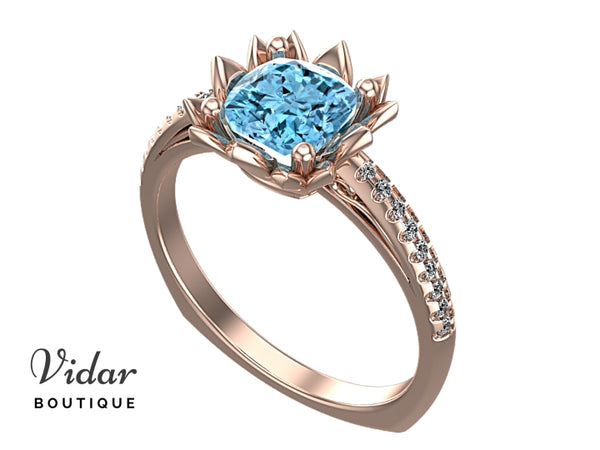 Flower Style Aquamarine Engagement Ring With Diamonds
