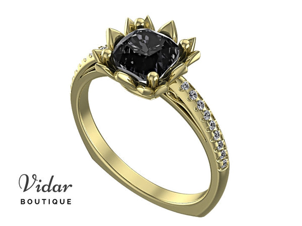 Unique Black Diamond Flower Engagement Ring