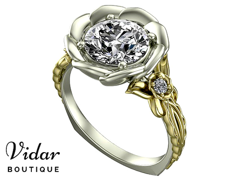 Flower Two Tone Gold Moissanite Engagement Ring