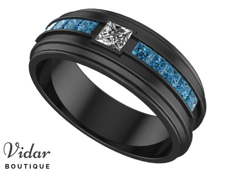 Black Gold White And Blue Diamonds Mens Wedding Band