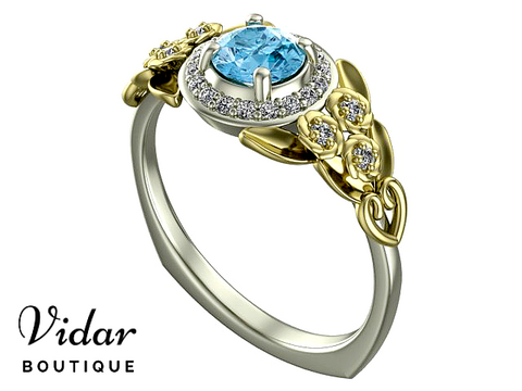 Floral Aquamarine Halo Engagement Ring