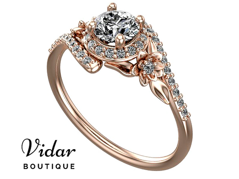 Flower Halo Moissanite Engagement Ring