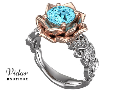 Unique Floral Style Aquamarine Engagement Ring