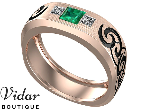 Emerald Tribal Mens Wedding Band