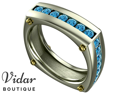 Unique Aquamarine Two Tone Gold Wedding Band For Men