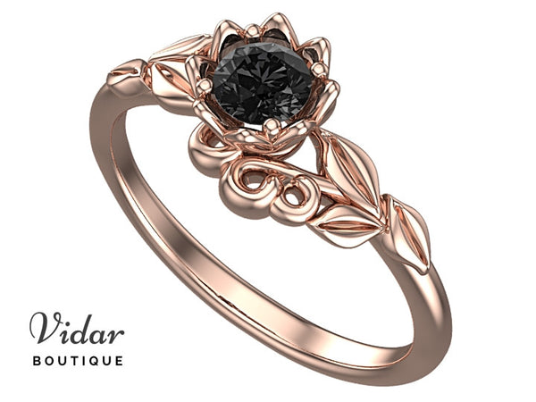 Black Diamond Flower Engagement Ring With Leaves