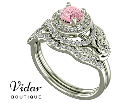 Unique Flower Pink Diamond Bridal Ring Set