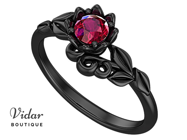 Black Gold Ruby Floral Engagement Ring