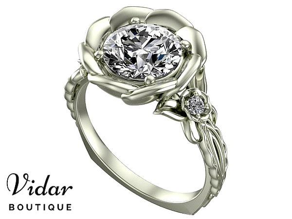 Flower Shaped White Gold Engagement Ring