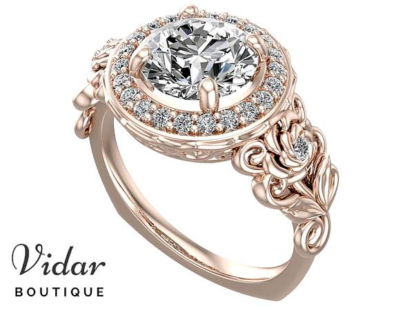 Floral Rose Gold Halo Moissanite Engagement Ring