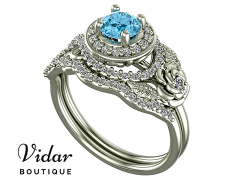 Flower Aquamarine White Gold Wedding Ring Set