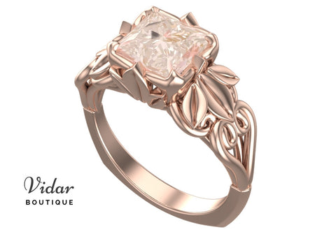 Unique Flower Morganite Engagement Ring With Leaves