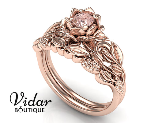 Unique Flower Morganite Rose Gold Bridal Set Engagement Ring Grapes and Leaves