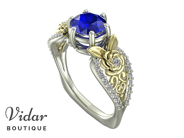 Unique Flower Sapphire Engagement Ring