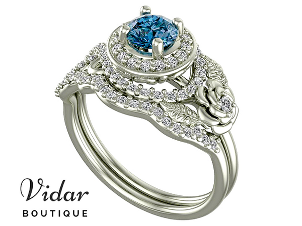 Unique Flower Blue Diamond Wedding Ring Set