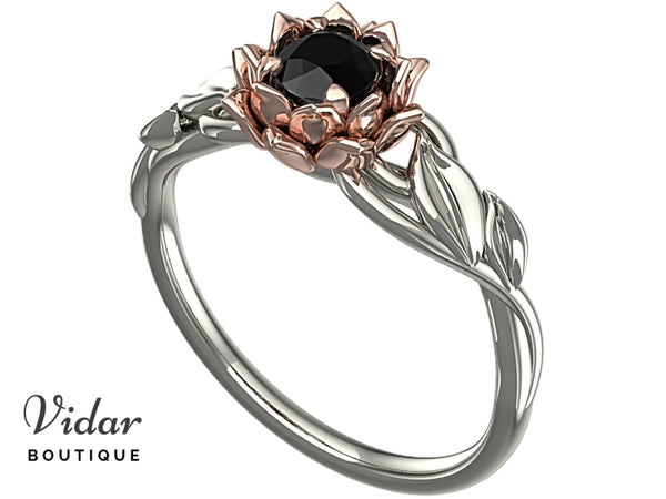 Lotus Flower Black Diamond Engagement Ring