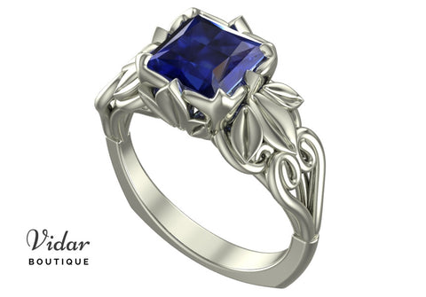 Unique Flower Engagement Ring Sapphire Princess Cut