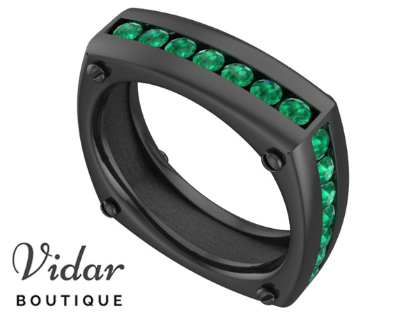 Unique Black Gold Emerald Mens Wedding Ring
