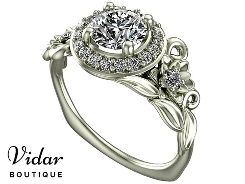 Flawless Diamond  White Gold Halo Engagement Ring