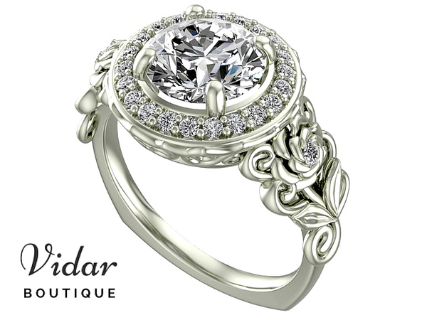 Unique Floral Diamond Halo Engagement Ring