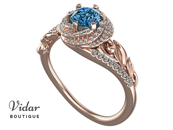 Unique Blue Diamond Engagement Ring With Leaves