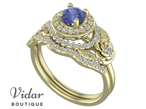 Flower Tanzanite Halo Bridal Ring Set