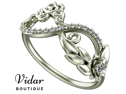 Unique Flower Infinity Diamond White Gold Wedding Ring For Women