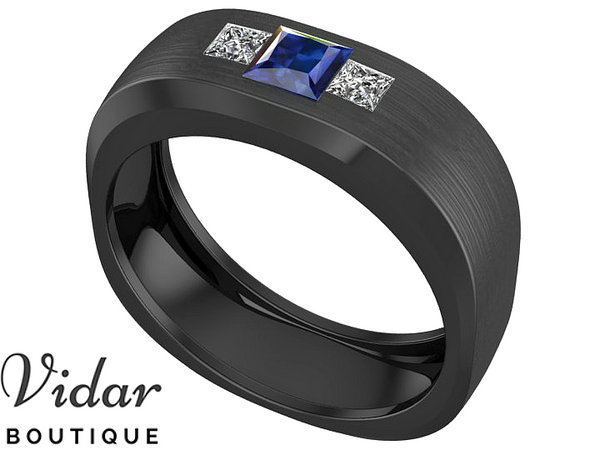 Black Gold Sapphire Mens Wedding Band