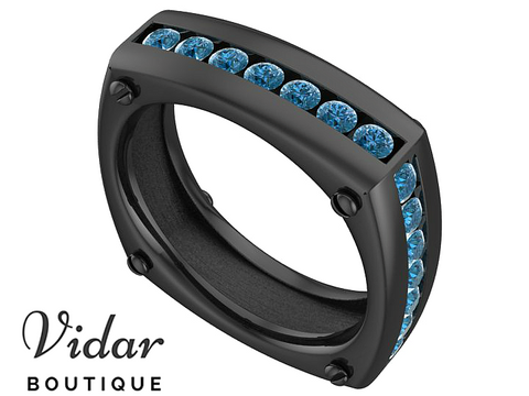 Unique Black Gold Blue Diamond Wedding Ring
