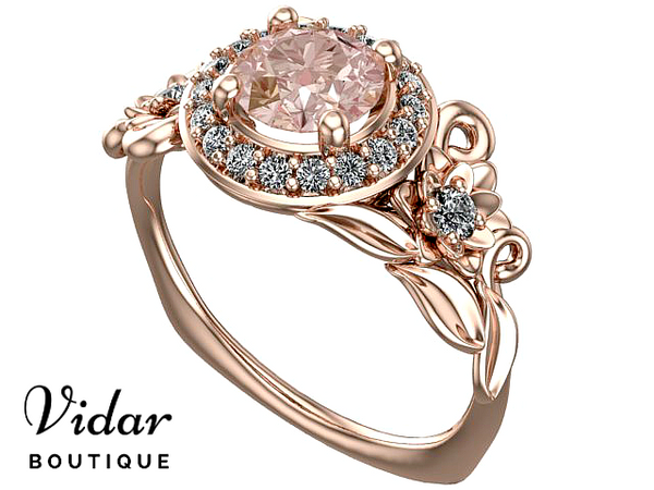 Unique Floral Morganite Halo Engagement Ring